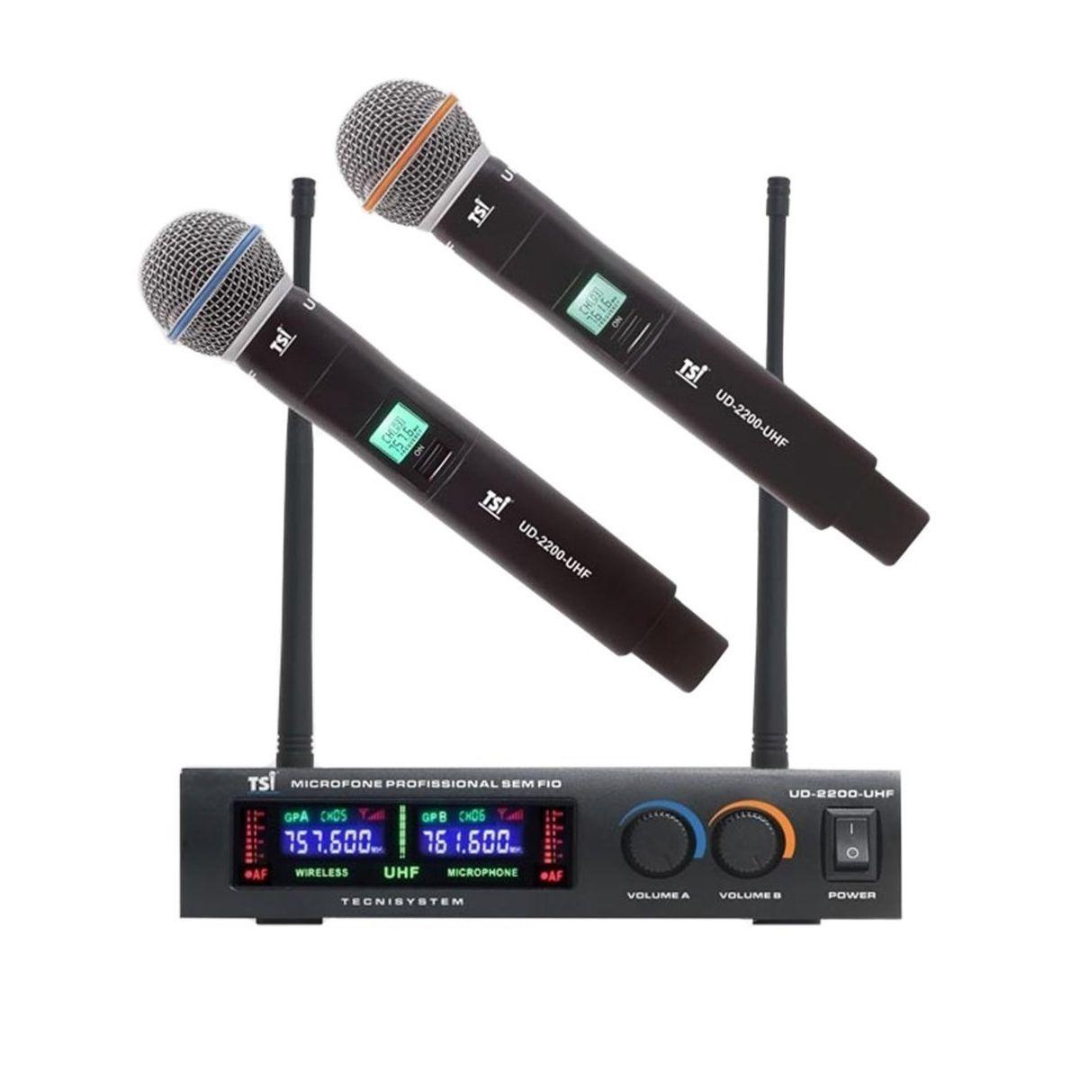 Microfone Duplo Sem Fio TSI UD2200-UHF
