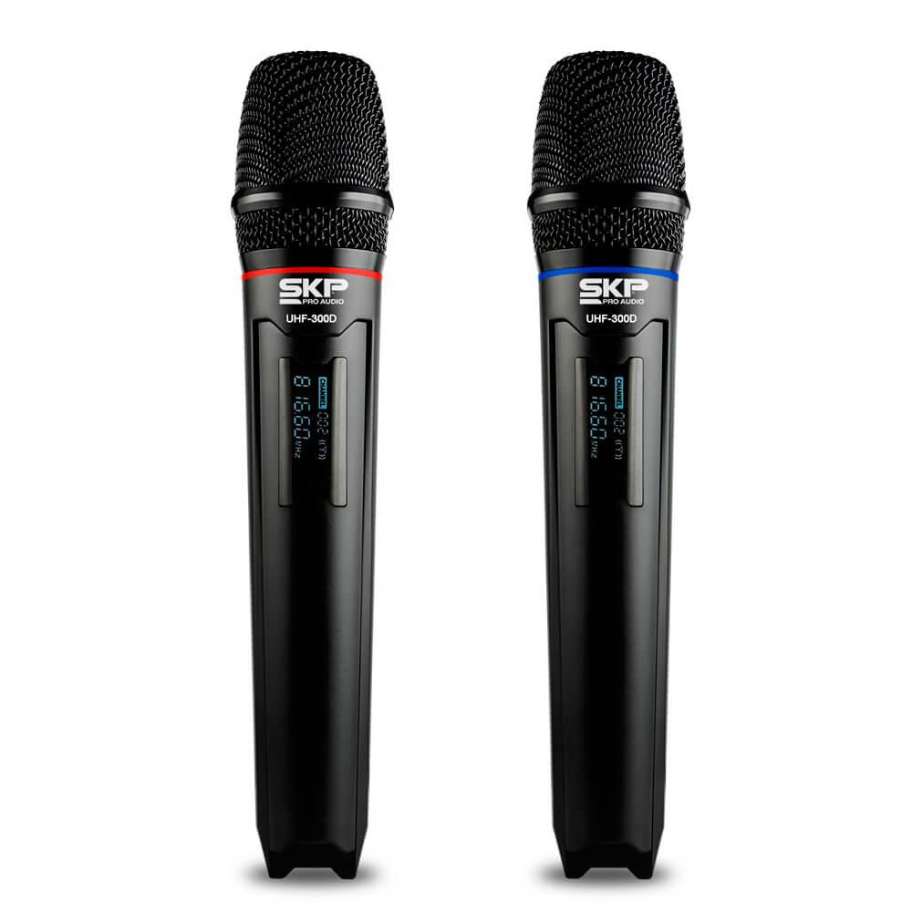 Microfone Duplo SKP Pro Audio UHF-300D Sem fio de Mão