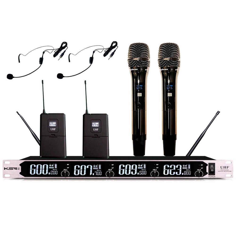 Microfone Sem Fio Digital KSR Pro KM11 Headset e Bastão