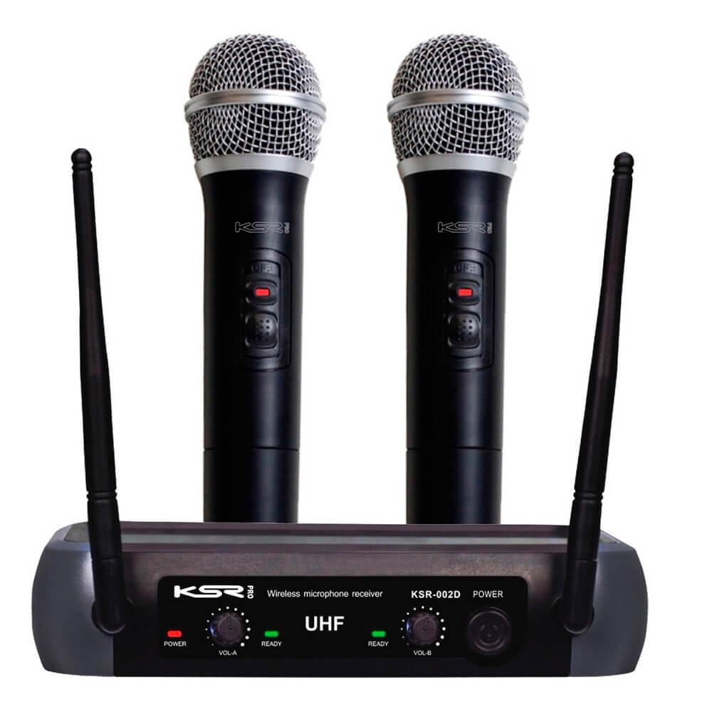 Microfone Sem Fio KSR Pro 002-D Duplo Bastão Mão
