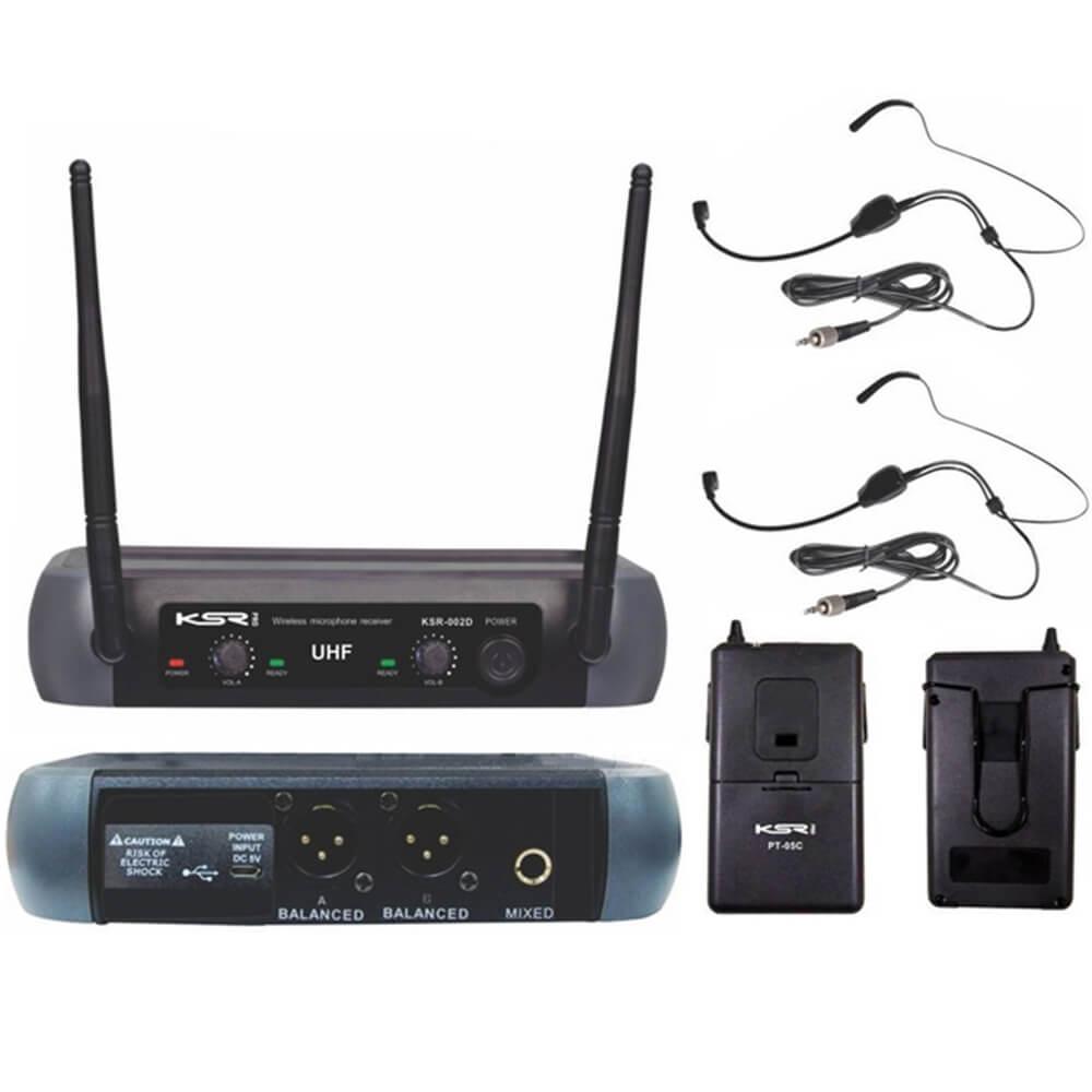 Microfone Sem Fio KSR Pro 002-D HD Cabeça Headset + Headset