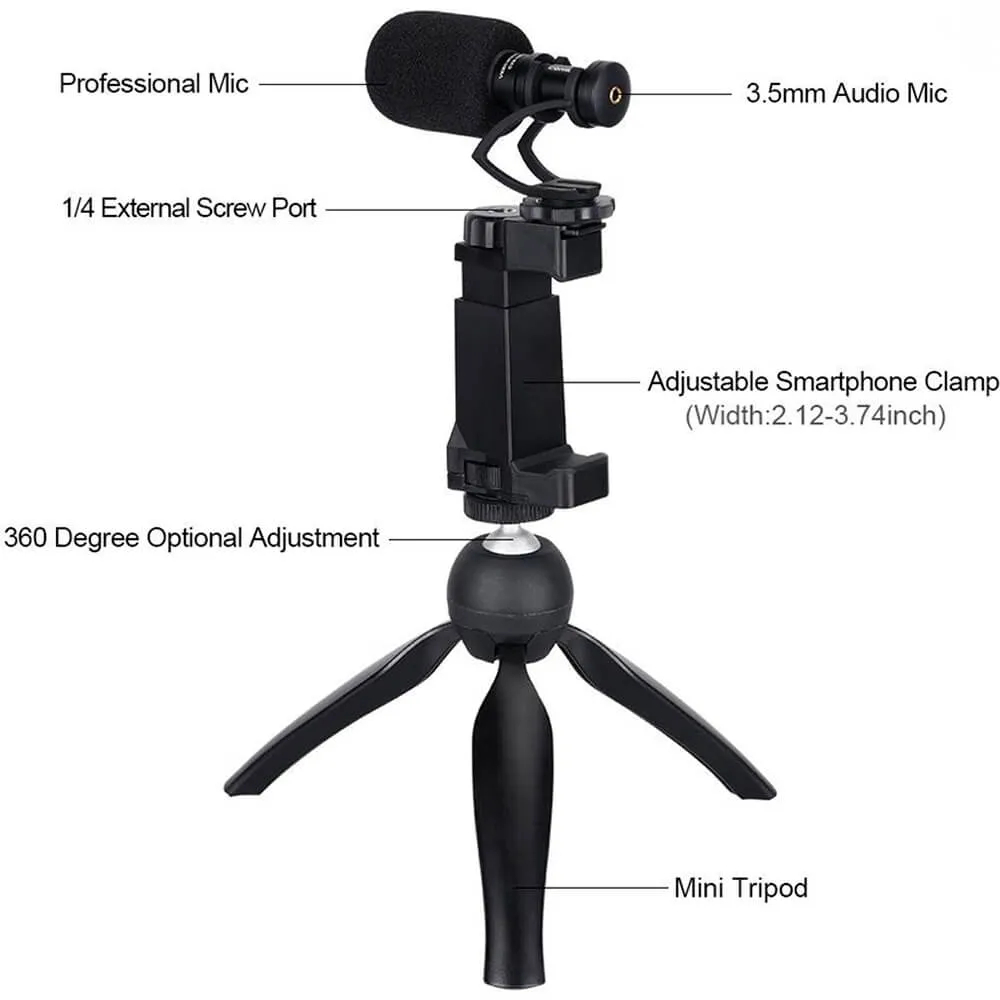 Microfone Shotgun Comica CVM-VM10-K2 com Pedestal