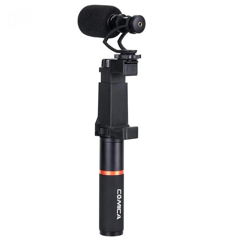 Microfone Shotgun Comica CVM-VM10-K3 com Suporte de Mão