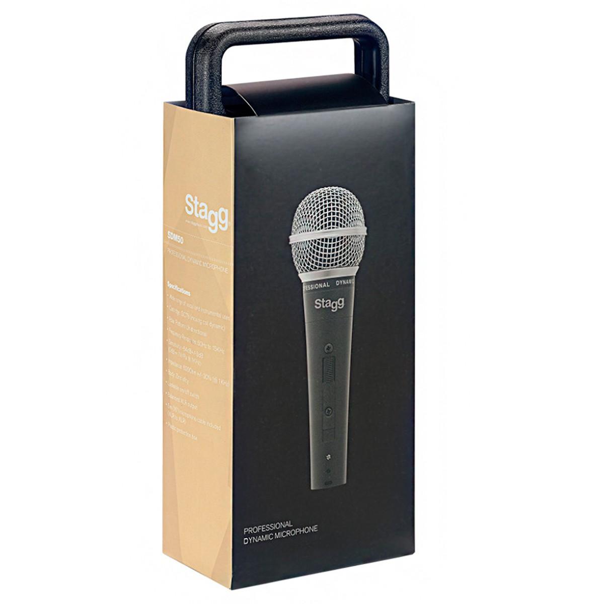 Microfone Stagg SDM50 Dinâmico Profissional com Cabo