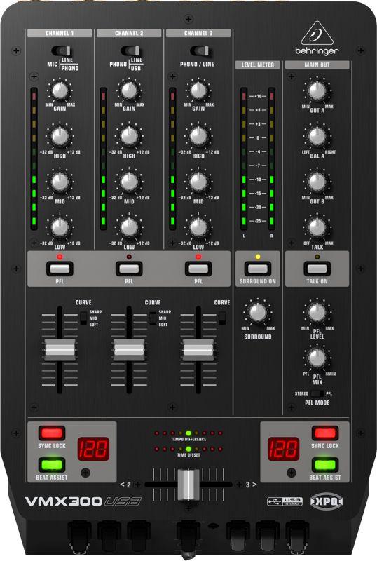 Mixer DJ Behringer Pro Mixer VMX300 USB 3 Canais