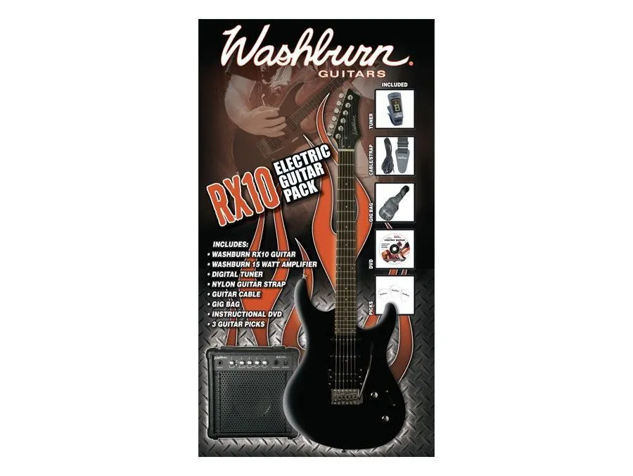 Pack Guitarra RX10 Preta 220V - RX10B PAK - WASHBURN