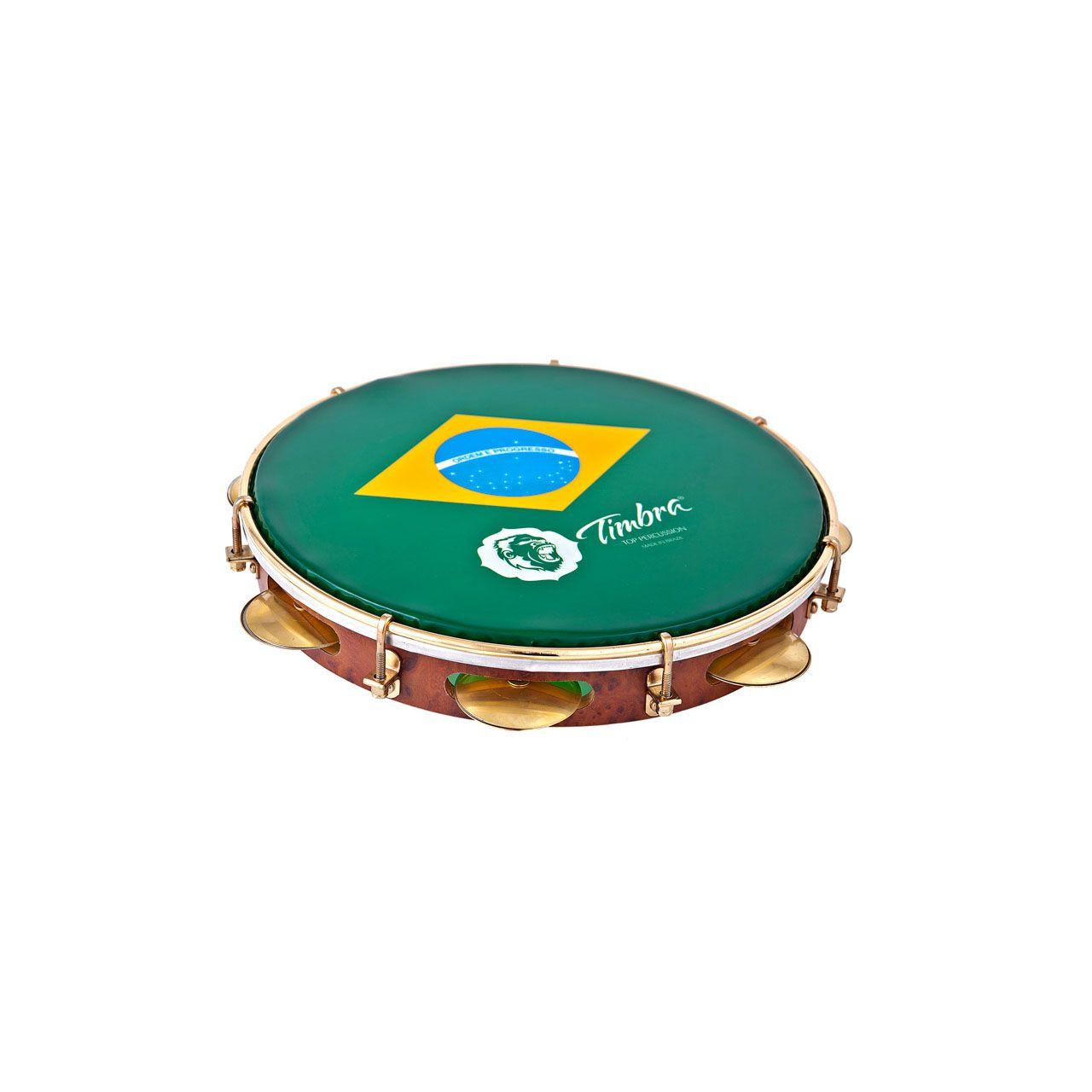 Pandeiro 10 Pol Formica C/aro Dourado   Pele Brasil C/capa Timbra