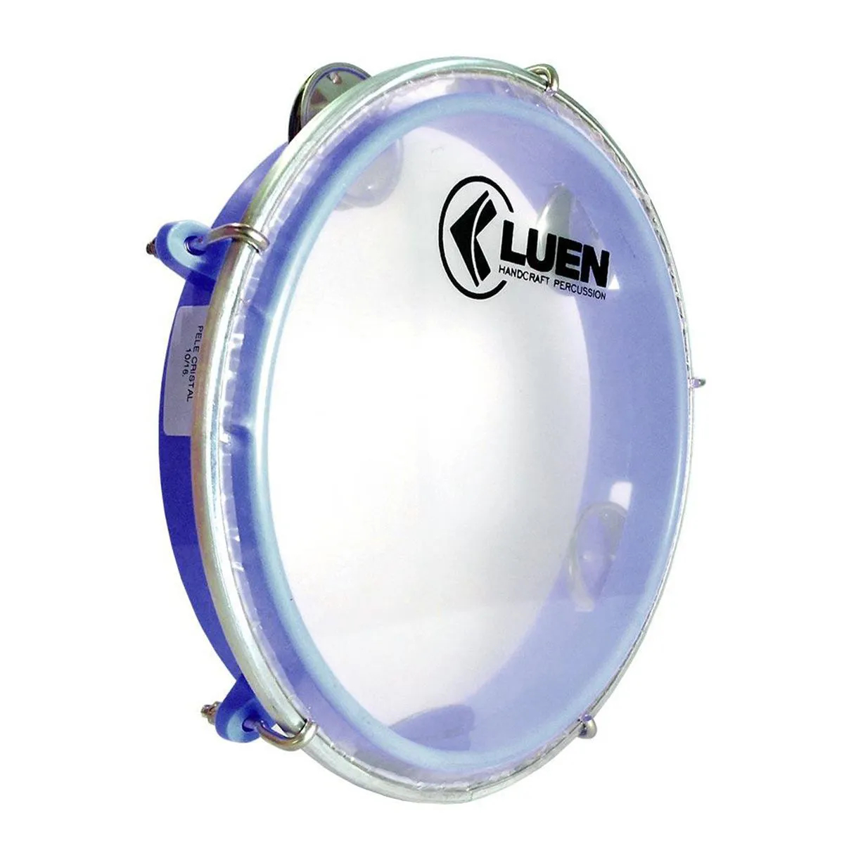 Pandeiro Junior Luen Percussion 8 Aro ABS Azul Pele Cristal