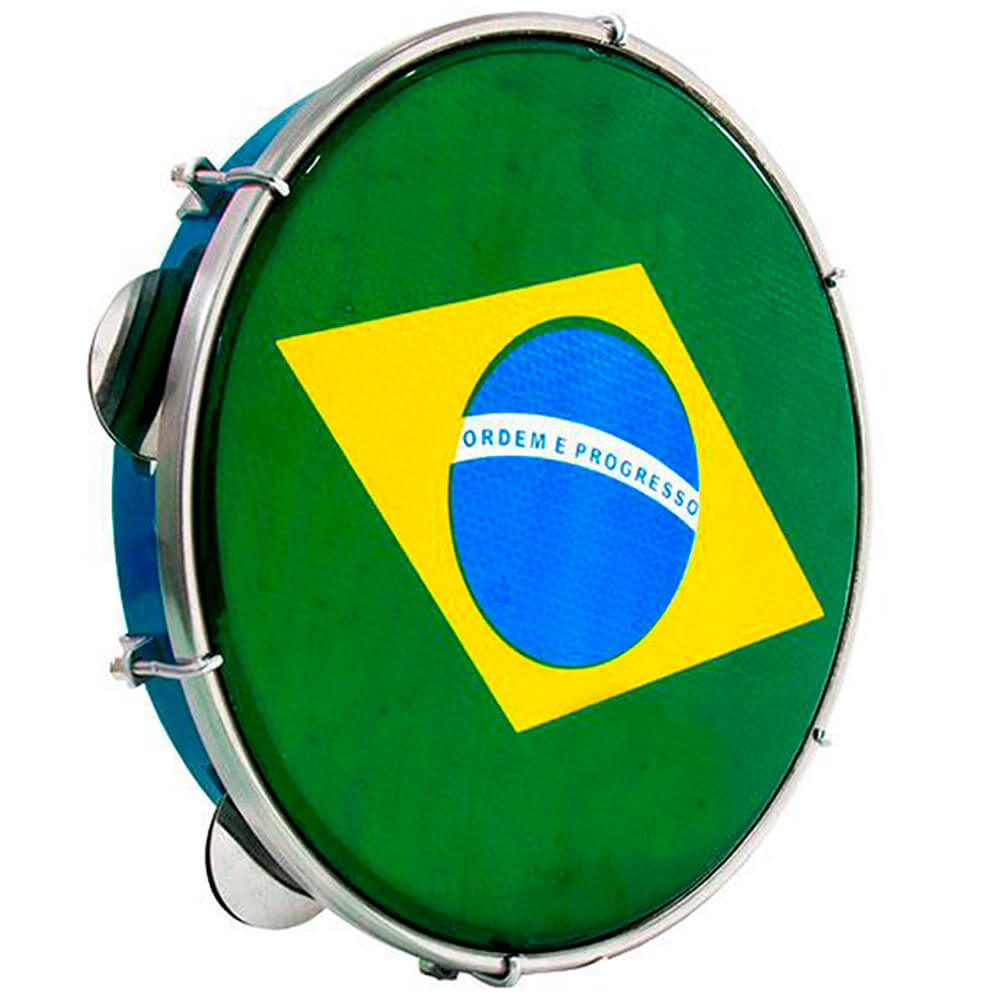 Pandeiro Luen 10 ABS Azul com Pele Brasil