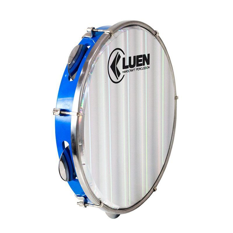 Pandeiro Luen Percussion 10 Aro ABS Azul Pele Holográfica Lisa
