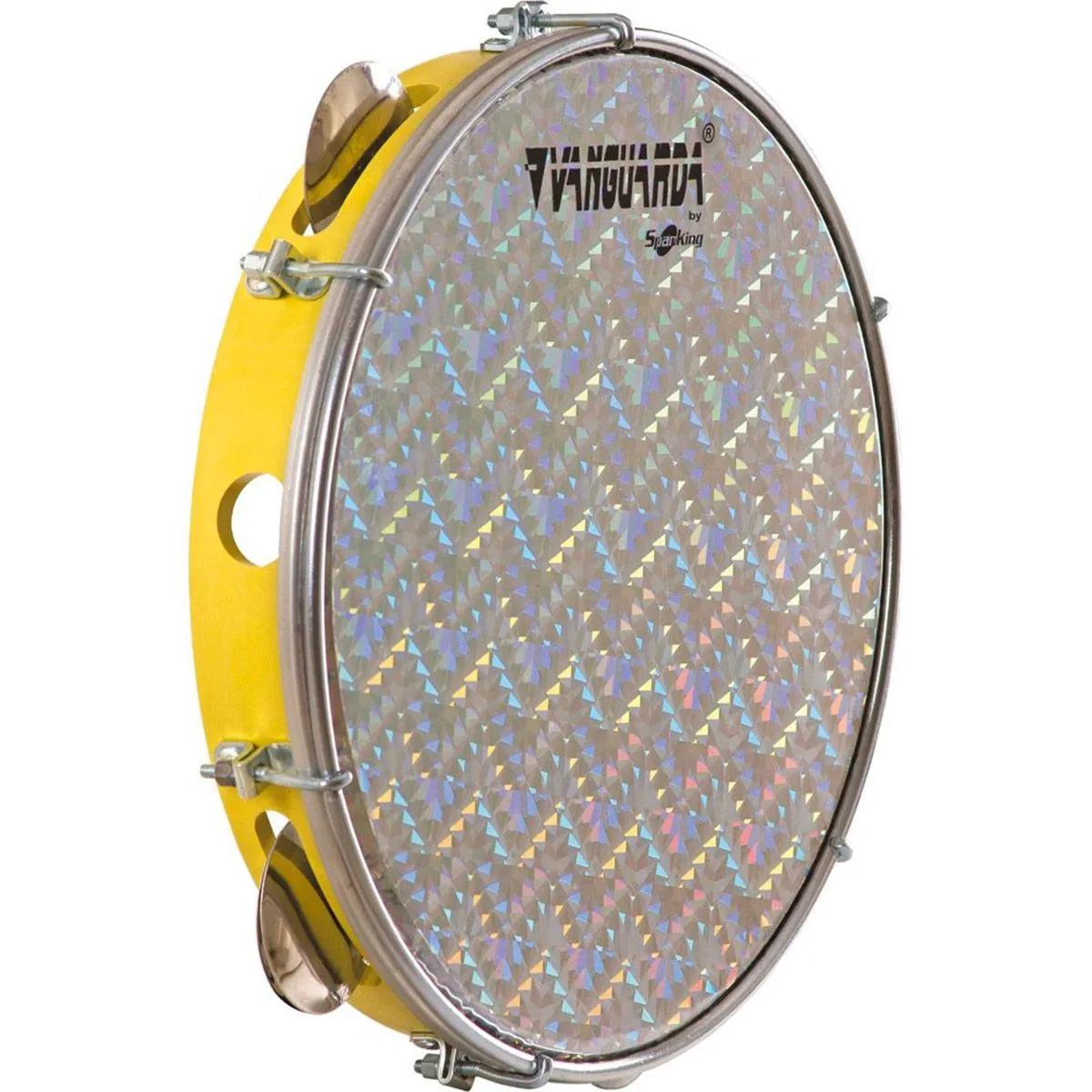 Pandeiro Spanking ABS Amarelo com Pele Holográfica Aro 10
