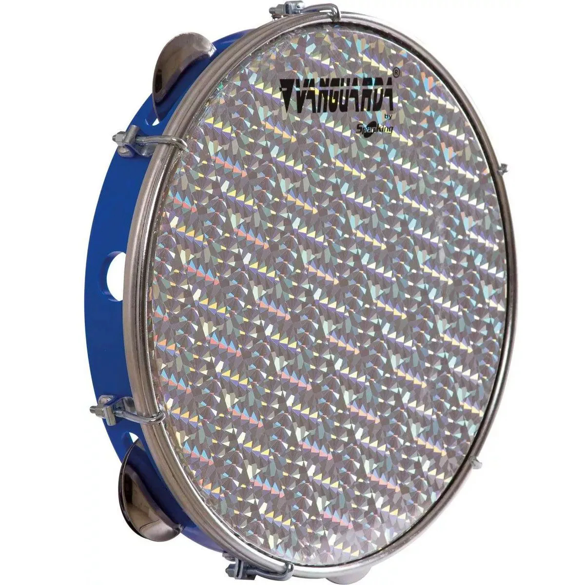 Pandeiro Spanking 10 Aro ABS Azul Pele Holográfica Prata