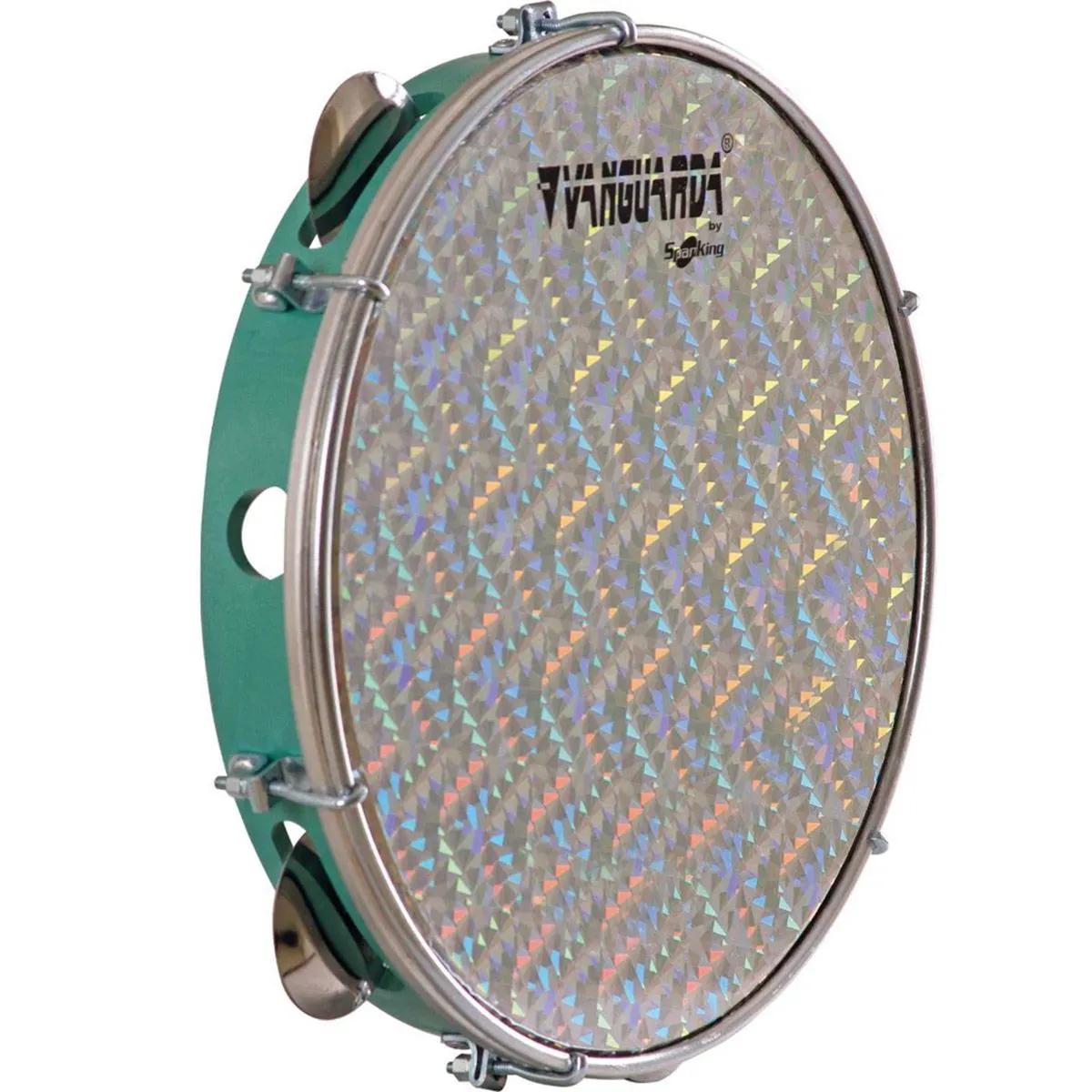 Pandeiro Spanking ABS Verde com Pele Holográfica Aro 10