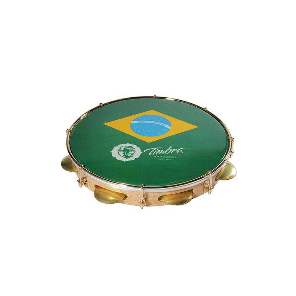 Pandeiro Timbra 10 Madeira Clara Aro Dourado com Pele Brasil