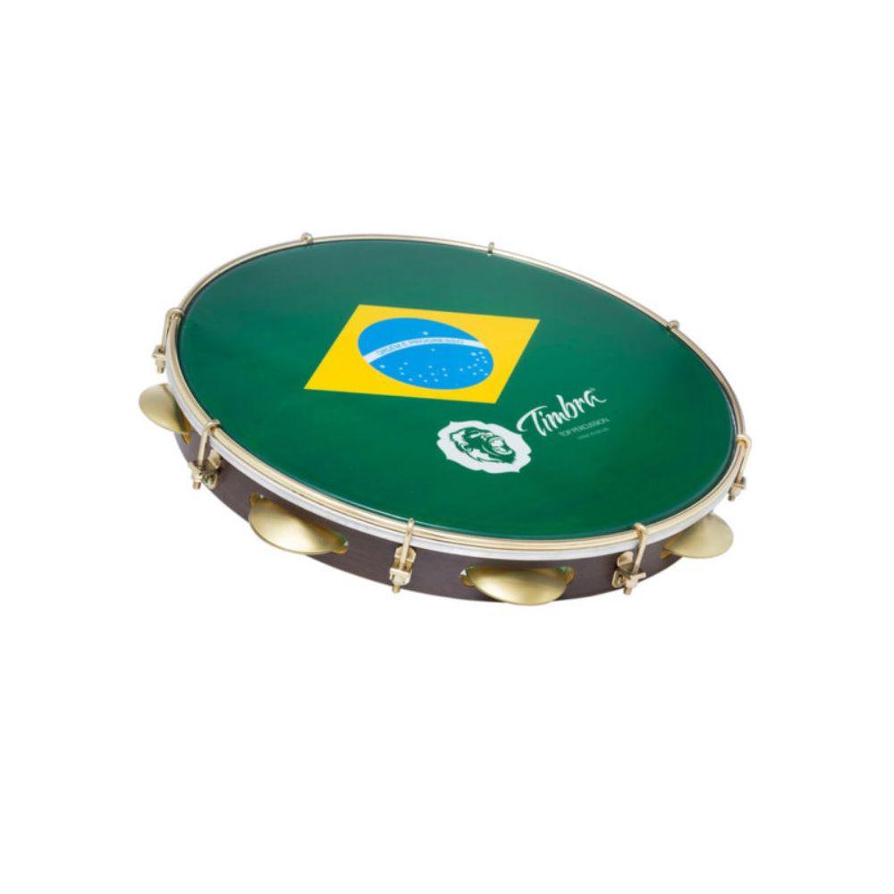Pandeiro Timbra 10 Madeira Escura Dourado com Pele Brasil