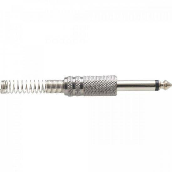 Plug P10 Mono Metal Niquelado com Mola GENÉRICO - PCT / 50