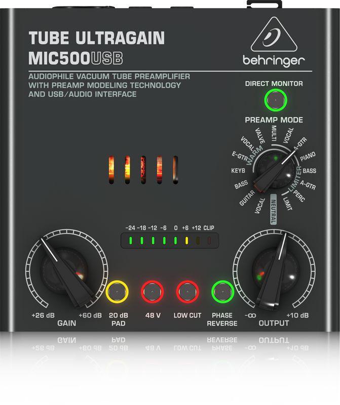 Pré Amplificador Behringer Ultragain MIC500 USB Valvulado