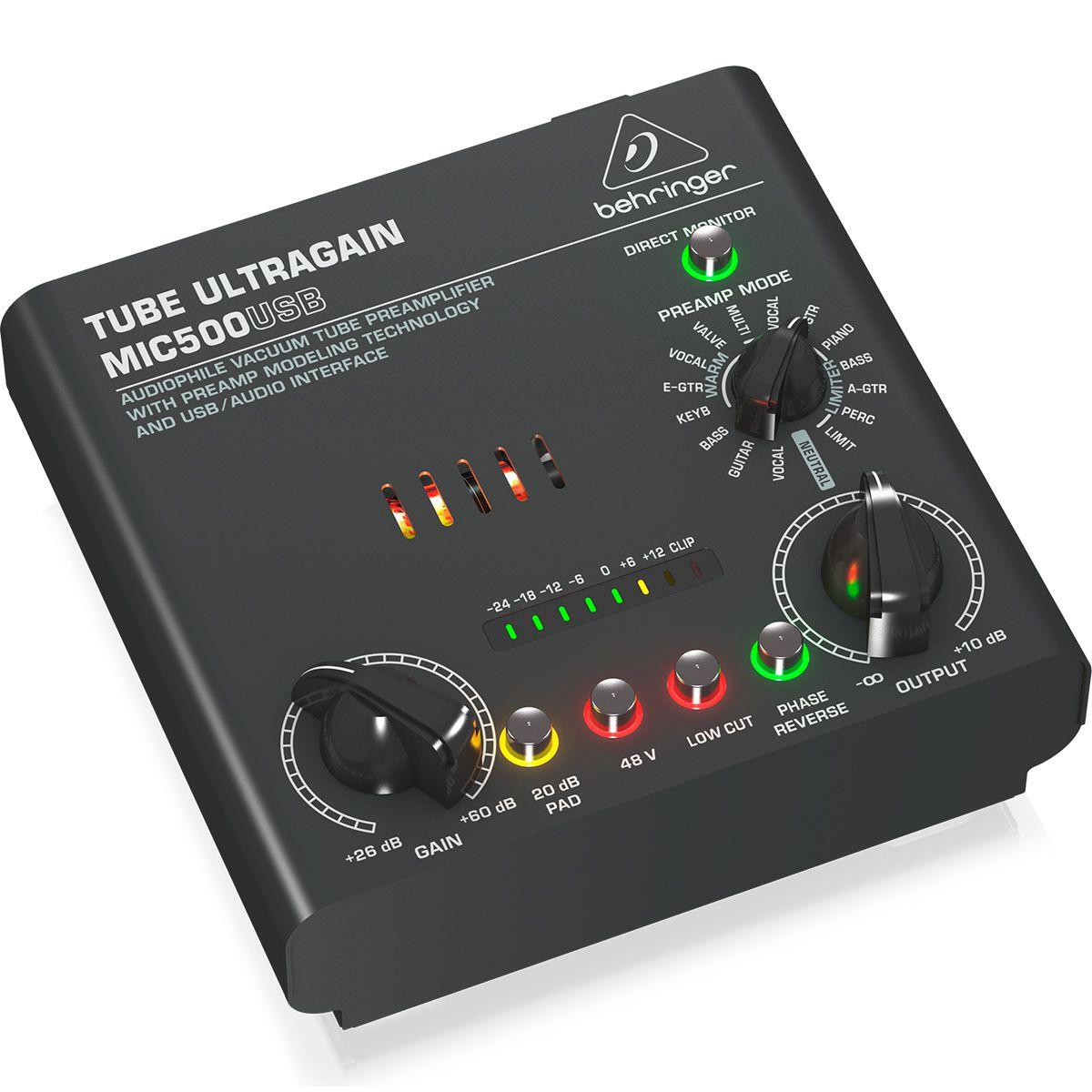 Pré-Amplificador de Tubo Behringer Ultragain MIC500USB