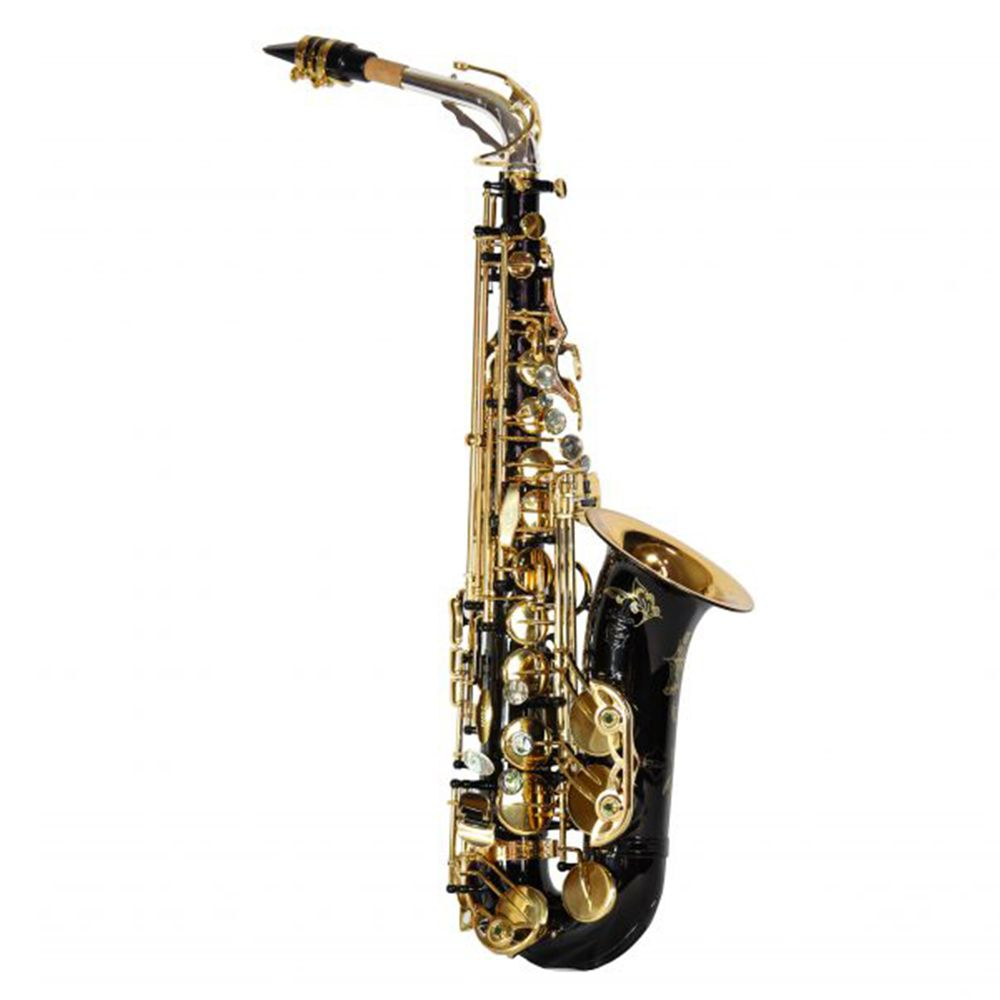 Saxofone Alto Jahnke JSAH102 Preto Dourado Mi Bemol