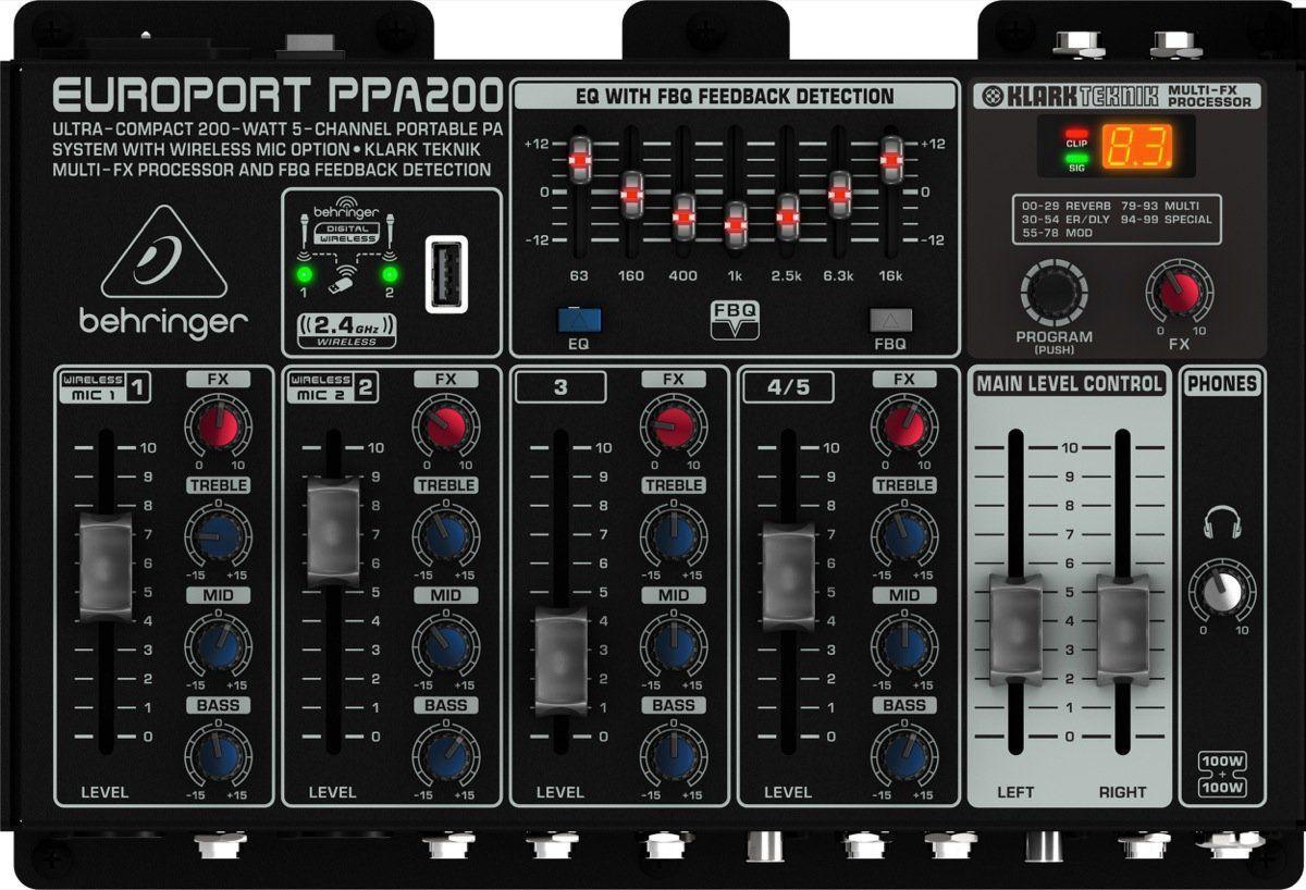 Sistema de PA Portátil Behringer Europort PP200 200 Watts
