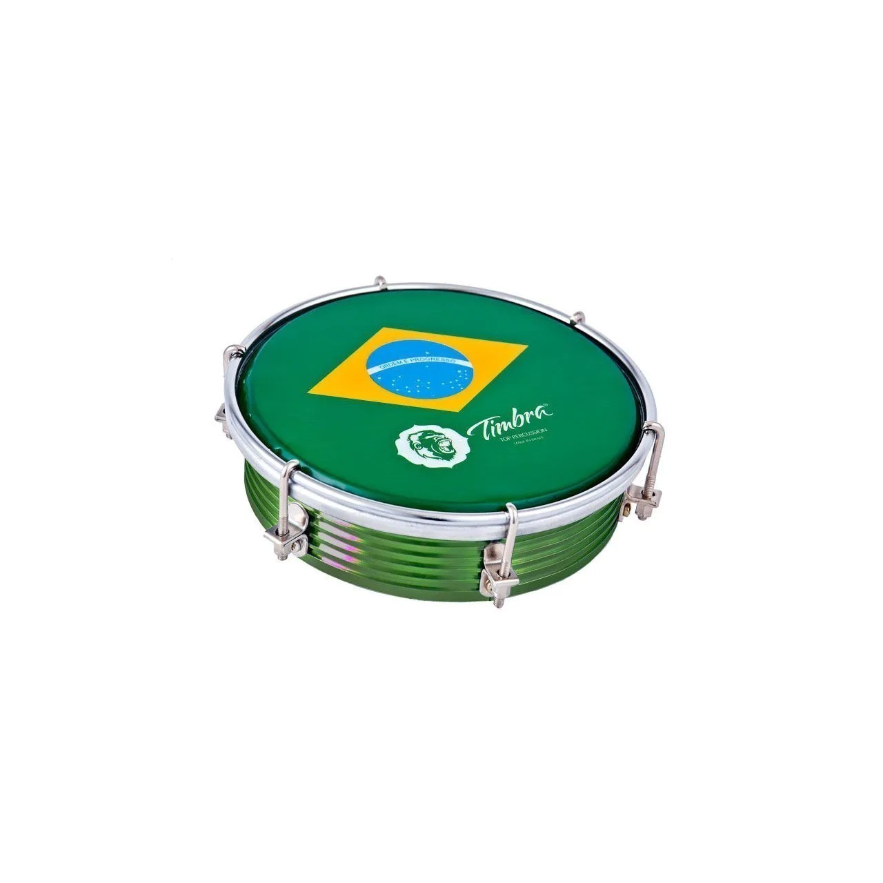 Tamborim 06 Pol Aluminio Colorido C/aro Cromado 6 Afinadores Pele Brasil P3 Timbra