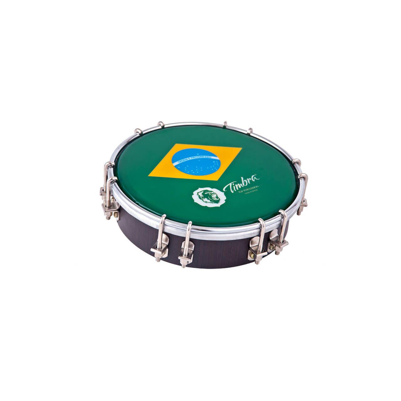 Tamborim 06 Pol Madeira C/aro Cromado 12 Afinadores Pele Brasil P3 Timbra