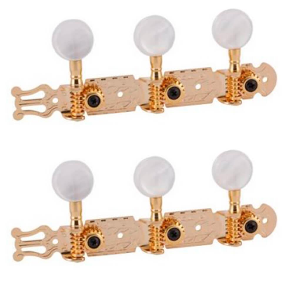 Tarraxa Deval Super Luxo 210 Dourada Pino Grosso para Violão