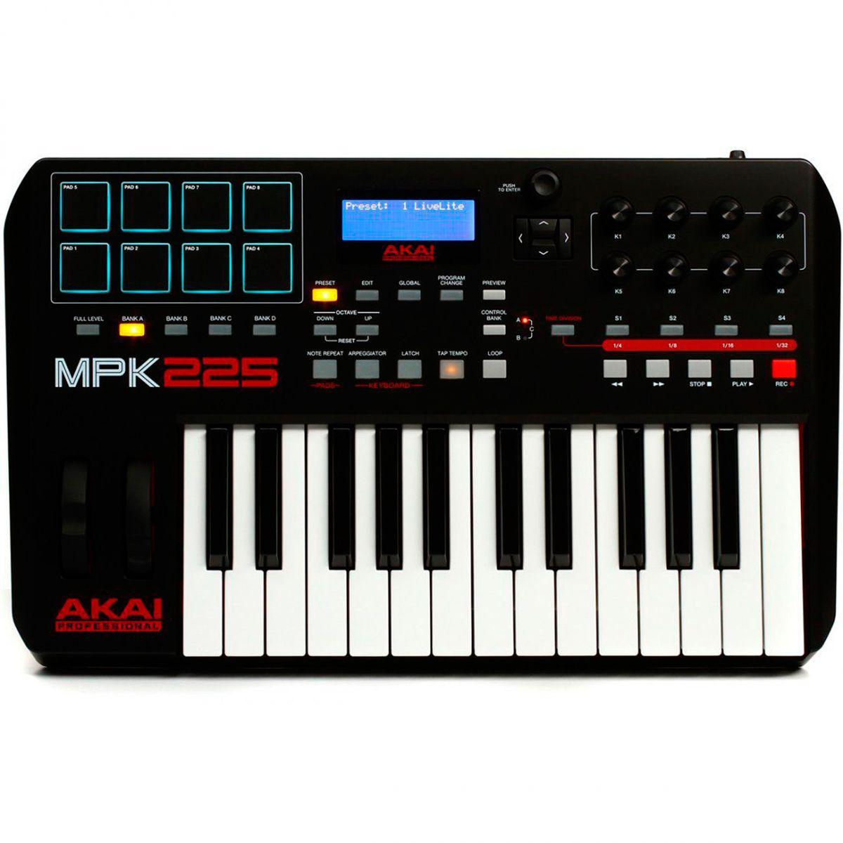 Teclado Controlador Akai Professional MPK225 USB 25 Teclas