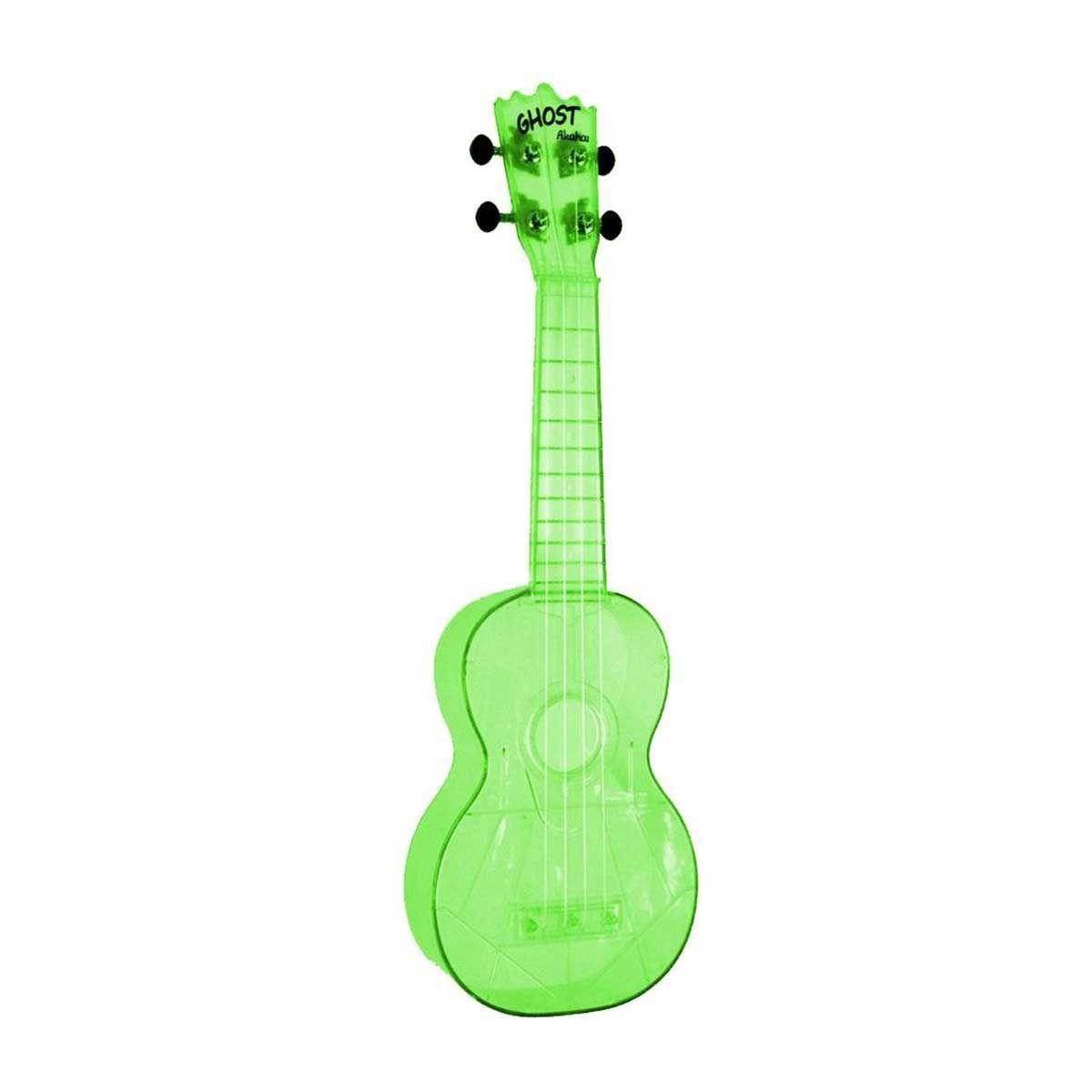 Ukulele Akahai Ghost Soprano Verde Neon com Cordas Aquila
