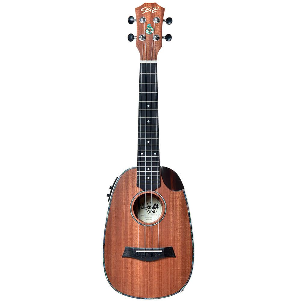 Ukulele Elétrico Seizi Maui Crush Pineapple Concert Sapele com Bag