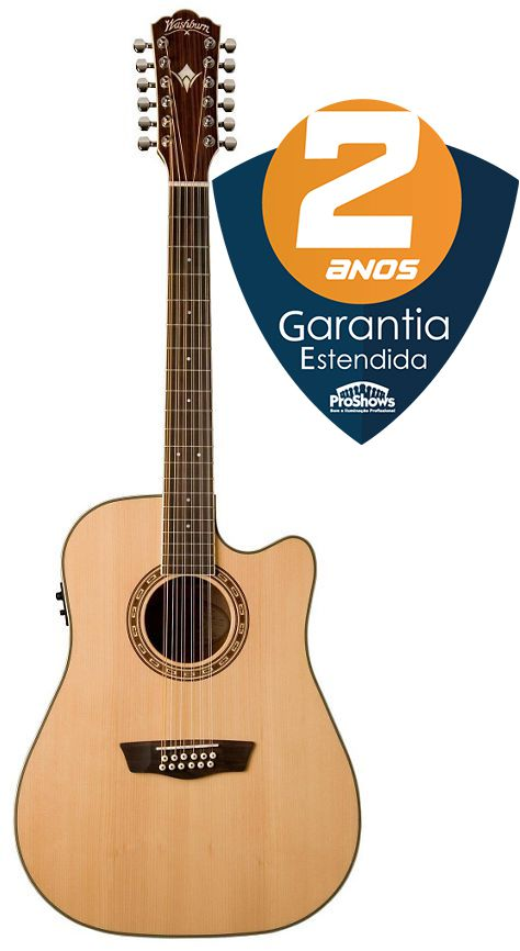 Violão 12 Cordas Washburn WD10SCE Dreadnought Cutaway Natural