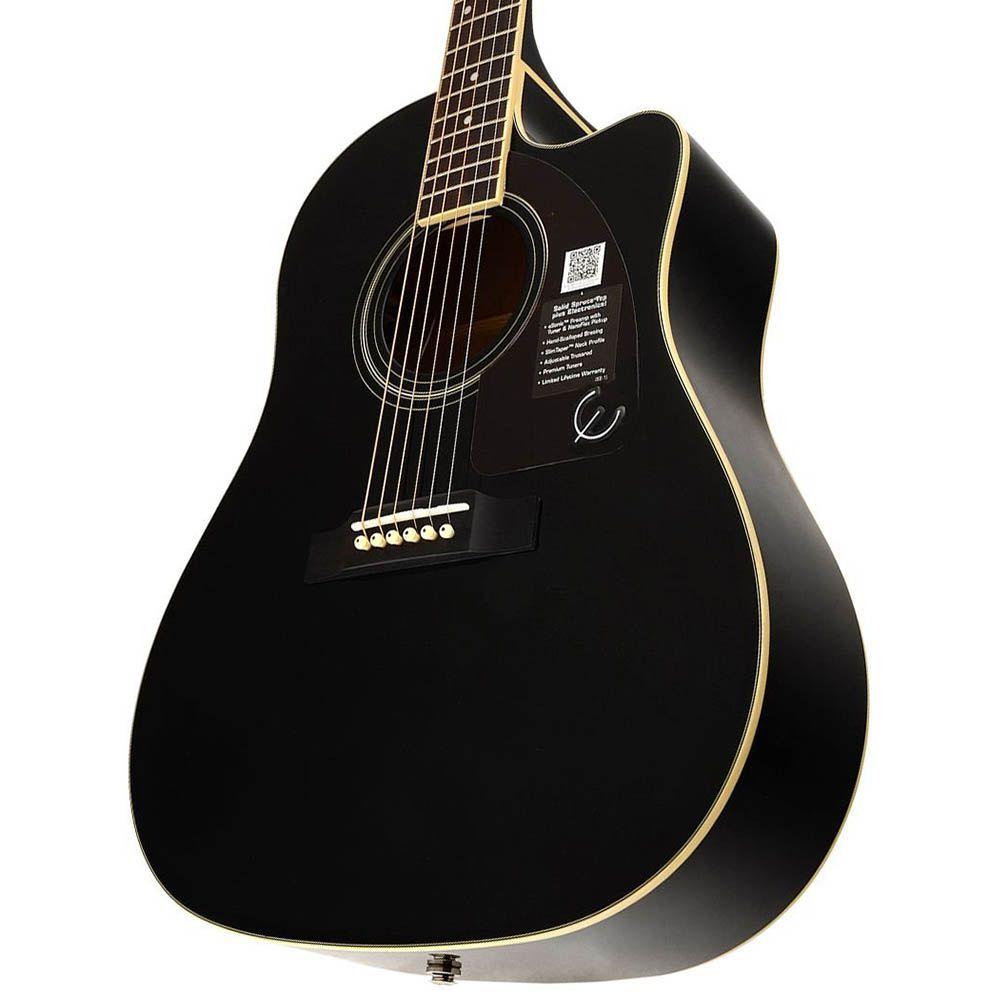 Violão Eletro-Acústico Epiphone AJ220 SCE Folk Black