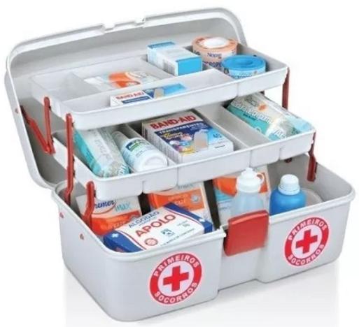 Maleta Caixa Primeiros Socorros De Medicamentos C/2 Bandejas ...