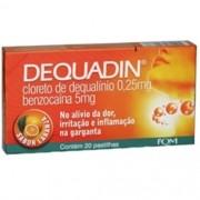 Dequadin 025 + 5mg Caixa Com 20 Pastilhas Sabor Laranja