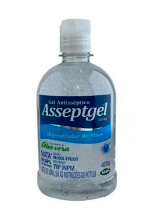 Álcool Gel Asseptgel Cristal 420g Antiséptico