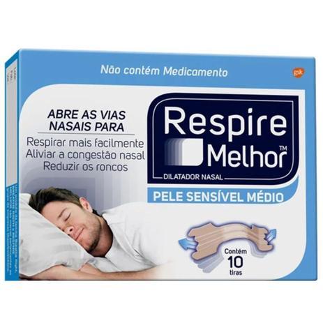 Dilatador Nasal Respire Melhor Pele Seca/Sensível  10 Tiras