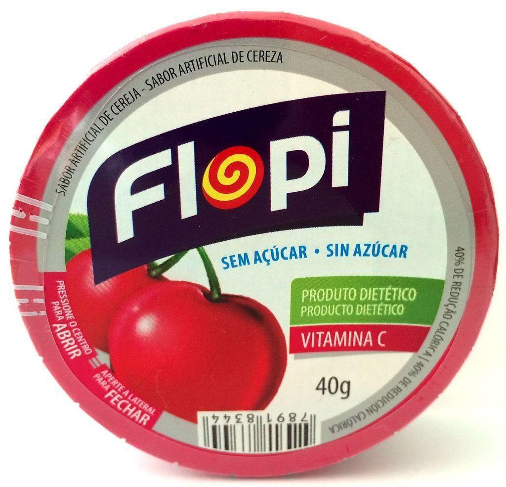 Flopi Morango Bala Lata Sem Açúcar 12x40g