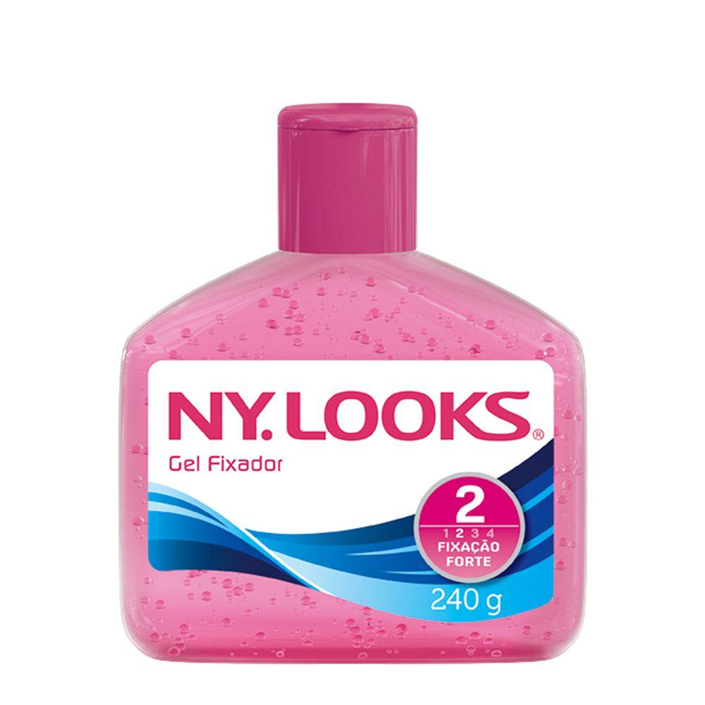 Gel Fixador Ny Looks Brilho Molhado Fixação Forte Rosa 240g