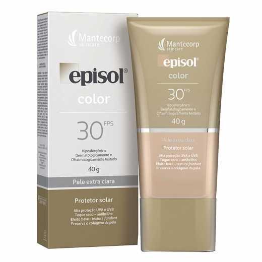 Protetor Solar Facial Episol Color Pele Extra Clara FPS30 40g