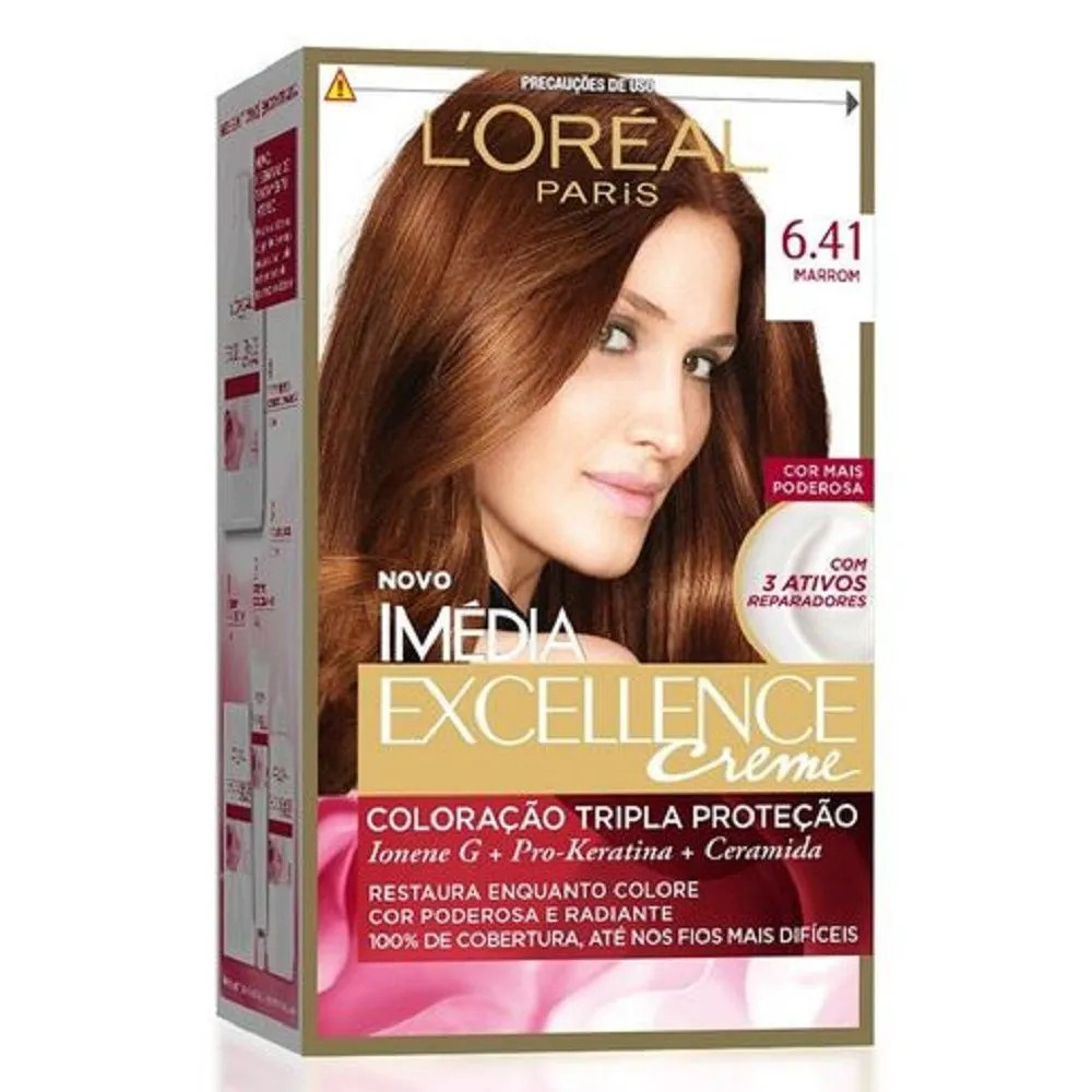Tintura Permanente Imédia Excellence Creme Kit 64.1 Marrom