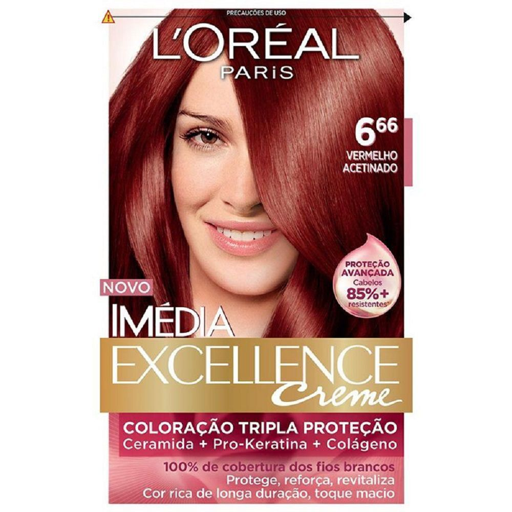 Tintura Permanente Imédia Excellence Creme Kit 6.66 Vermelho Acetinado