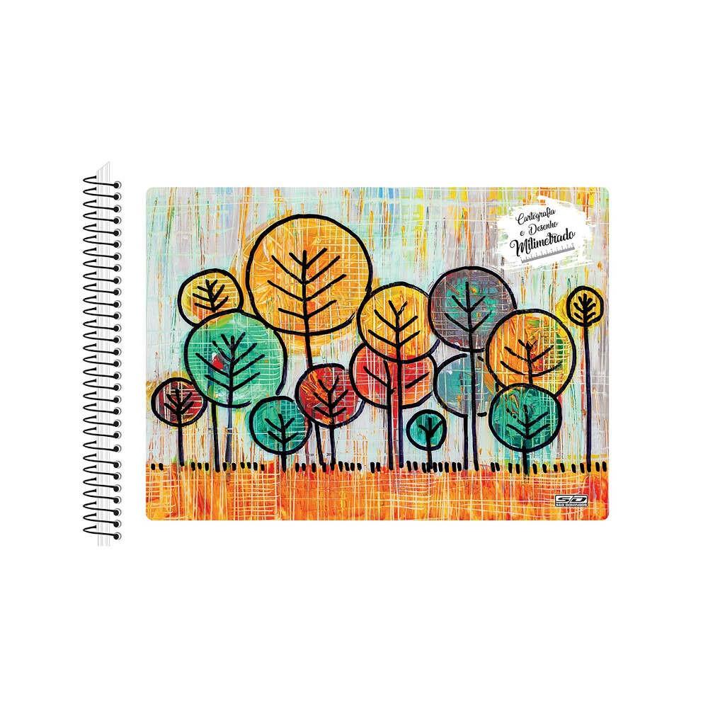 Caderno Desenho E Cartografia Milimetrado 96 Folhas Neutro- Estampas Diversas