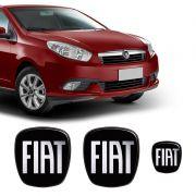 3 Adesivos Emblema Fiat Preto Black Grand Siena