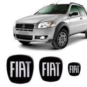3 Adesivos Emblema Fiat Strada Preto