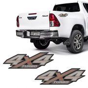 Adesivo 4x4 Turbo Hilux 2016 2017 2018 Flex Emblema Lateral