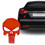 Adesivo Caveira O Justiceiro Vermelho Refletivo Carro Moto