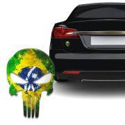 Adesivo Resinado Caveira O Justiceiro Brasil Envelhecido