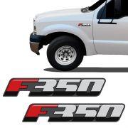 Emblema F-350 2016/ Adesivo Lateral Resinado Ford - Par