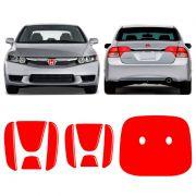 Emblema New Civic 06/11 Vermelho Refletivo Traseiro E Frontal