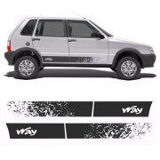 Faixa Lateral Fiat Uno Way /2012 4 Portas Adesivo Preto